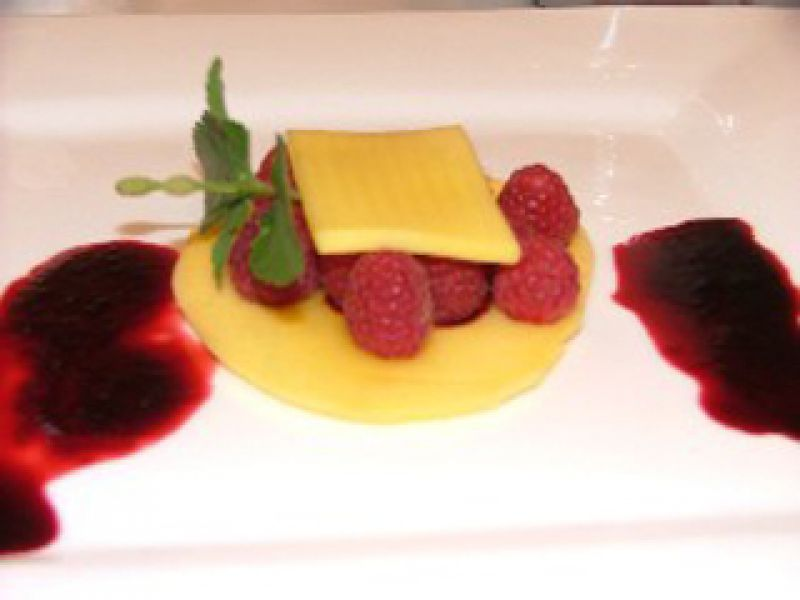 Mango Slides, Raspberries and Hot Hibiscus Flower Sauce