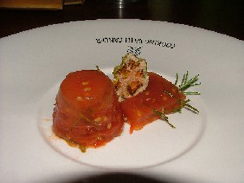 Fry Tomato Jell-O with Fresh Rosemary and Pepper