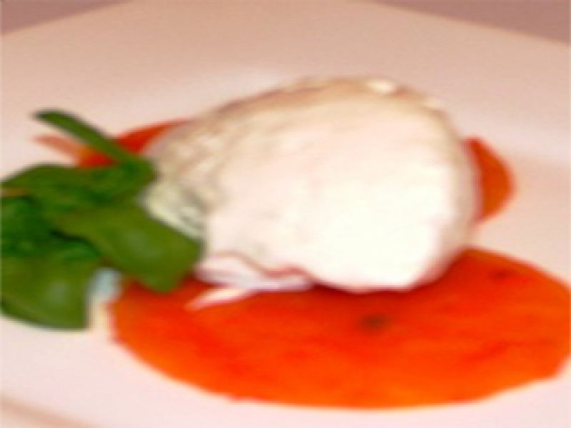 Feta Cheese Ice Cream with Roasted Pepper