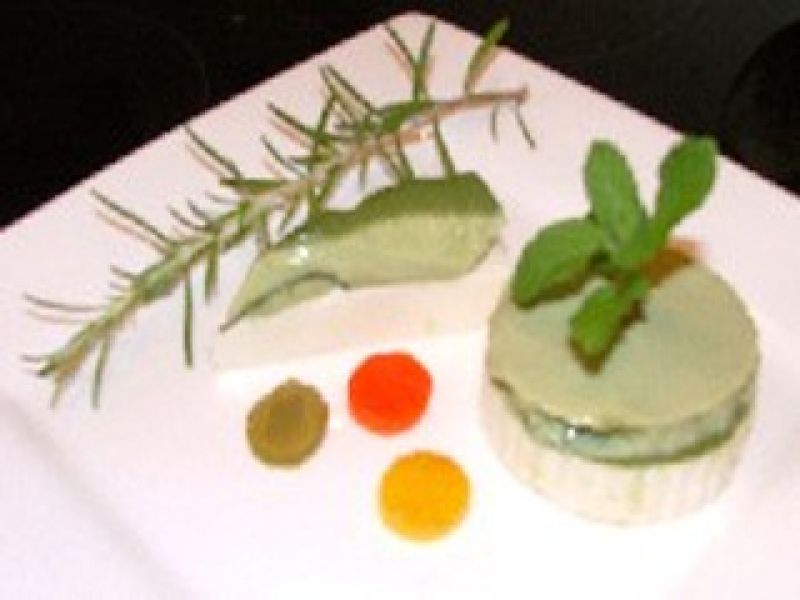 Green Tea Flan with Queso Fresco and Roasted Pepper
