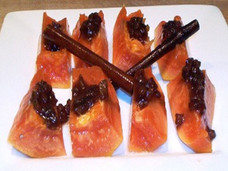 Papaya with Plantain Pepper Sauce
