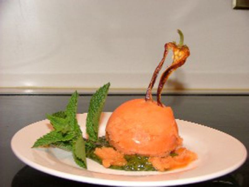 Papaya Sorbet with Pesto